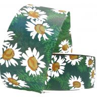 "1.5"" X 50 YD FLORAL SATIN PRINT - DAISIES - GREEN/WHITE/YELLOW"