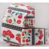 "1.5"" X 50 YD FLORAL SATIN PRINT - CHERRIES"