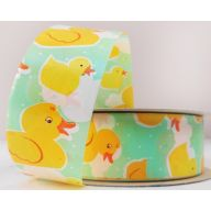 "1.5"" X 50 YD FLORAL SATIN PRINT - LUCKY DUCKS - MINT/YELLOW"