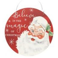 """12 """" Dia Metal Santa Decor - Red / White / Green"""