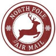 "12 "" Dia Metal North Pole Air Mail Sign - Red /White"