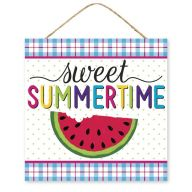 "10""Sq ""Sweet Summertime"" Sign - White / Pink / Turquoise / Yellow / Lime / Purple"