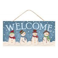 "12.5""L X 6""H MDF ""Welcome"" w/ Snowmen Sign - Blue / Light Blue / White"