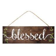 "15 "" L x 5 "" H Blessed w / Leaf Vines Sign"