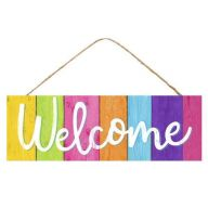 "15 "" L x 5 "" H Multicolored ""Welcome"" Sign"