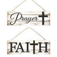 """15 """" L x 5 """" H Prayer / Faith w / Cross Sign ( 2 Styles Assorted )"""