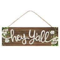 """15 """" L x 5 """" H Hey Y'all Magnolias Sign - Brown / White / Green"""