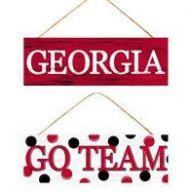 """15 """" L x 5 """" H Georgia / Go Team Hanging Sign"""