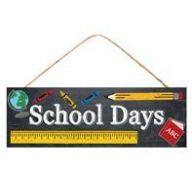 "15 "" L x 5 "" H School Days Sign - Black / White / Yellow"