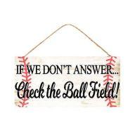 "12.5 "" L x 6 "" H "" Check the Ball Field "" - Cream / Brown / Black / Red"