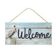 "12.5 "" x L 6 "" H Welcome w / Pelican Sign - Light Blue / Black"