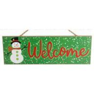 """15 """" L X 5 """" H MDF Welcome Snowman Sign - Green / Red / White"""