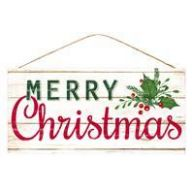 """12.5 """" x 6 """" W Merry Christmas w / Holly - Cream / Red / Green"""