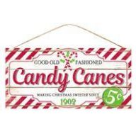 """12.5 """" L X 6 """" W Candy Canes SIgn - White / Red / Green"""