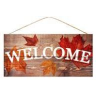 "12.5 "" L X 6 "" W Welcome Fall Leaves - Natural / White / Orange / Red"