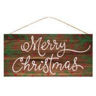 """12.5 """" L X 6 """" W Merry Christmas - Natural / White / Red / Green"""