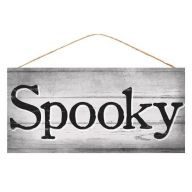 "12.5""L X 6""H MDF ""Spooky"" Sign - Grey / Black / White"