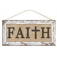 """12.5 """" L x 6 """" H Faith w / Cross - Black / Natural / White"""