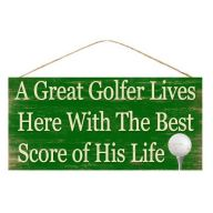 "12.5 "" L x 6 "" H MDF Great Golfer - Green / White"