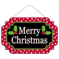 """12.5""""L X 8""""H MDF """"Merry Christmas"""" Sign - Black / Red / White / Green"""