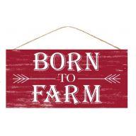 """12.5 """" L x 6 """" H Born To Farm - Rustic Red / White"""