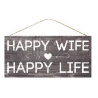 "12.5 "" L x 6 "" H Happy Wife Happy Life - TT Gray / White"