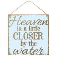 "10 "" sq Heaven is Closer by the Water - Brown / Light Aqua"