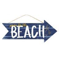 "16 "" L x 6.5 "" H Gone To The Beach - Dark Blue / White / Yellow"
