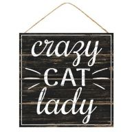 "10"" Square Crazy Cat Lady - Black / White"