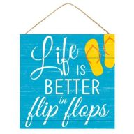 "10 "" SQ Life Is Better In Flip Flops - Blue / White / Yellow / Orange"