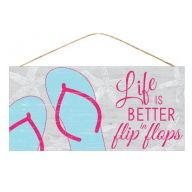 "12.5 "" L x 6 "" H Life Is Better / Flip Flops - Gray / Pink / Blue"