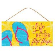 "12.5 "" L x 6 "" H Life Is Better / Flip Flops - Yellow / Pink / Blue"