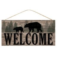 """12.5 """" L x 6 """" H Welcome / Bears Sign - Light Brown / Black / Green"""