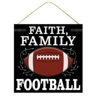 "12"" Sq ""Faith Family Football"" Sign - Black / White / Brown"