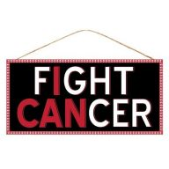 "12.5 "" L x 6 "" H "" I Can Fight Cancer "" Sign - Black / Red / White"