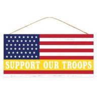 """12.5 """" L x 6 H """" Support Our Troops """" Sign - Red / White / Blue Yellow"""