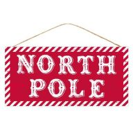 """12.5""""L X 6""""H MDF """"North Pole"""" Sign - Red / White"""