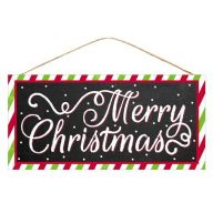 """12.5""""L X 6""""H MDF """"Merry Christmas"""" Sign - Black / Red / Lime / White"""
