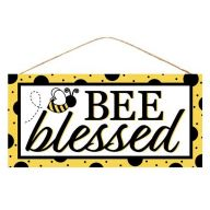 "12.5"" L x 6 H ""BEE blessed"" Sign - Yellow / Black / White"