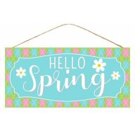 "12.5""L X 6""H Hello Spring w/ Flower Sign - Blue / White / Pink / Green"