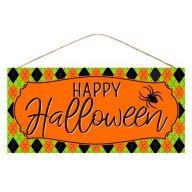 "12.5""L X 6""H MDF ""Happy Halloween"" Sign - Orange / Black / Lime / Purple"