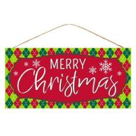 """12.5""""L X 6""""H MDF """"Merry Christmas"""" Sign - Red / White / Emerald Green / Lime"""