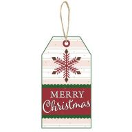 "12""L X 6.5""H MDF ""Merry Christmas"" Luggage Tag - Red / Green / White"