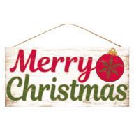 "12.5""L X 6""H MDF Rustic ""Merry Christmas"" - Cream / Red / Moss"