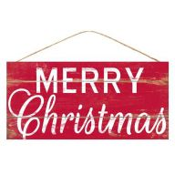 """12.5""""L X 6""""H MDF """"Merry Christmas"""" Sign - Rustic Red / White"""