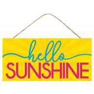 "12.5""L X 6""H MDF ""Hello Sunshine"" Sign - Yellow / Turquoise / Hot Pink"