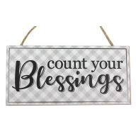 """12.5""""L X 6""""H MDF """"Count Your Blessings"""" Sign - Grey / White / Black"""