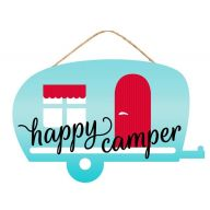 "12""L X 7.75""H MDF ""Happy Camper"" Sign - Vintage Blue / Red / White"