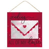 "10""Sq MDF ""Sending All My Love"" Sign - Red / White / Black"
