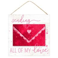 "10""Sq MDF ""Sending All My Love"" Sign - Red / White / Pink"